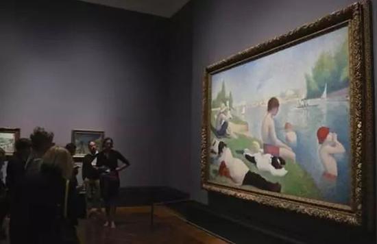 考陶尔德提供资金给伦敦国家美术馆购买的修拉《安涅尔的浴场》