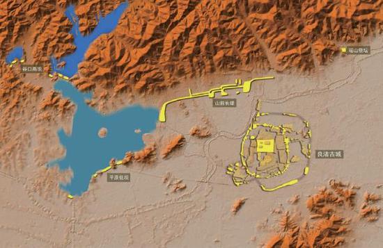 水坝与古城位置,及古城周边地形等高模拟图