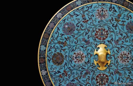 御制铜胎掐丝珐琅仿古缠枝莲纹大铜镜