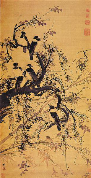 秋树聚禽图 广州艺术博物馆藏