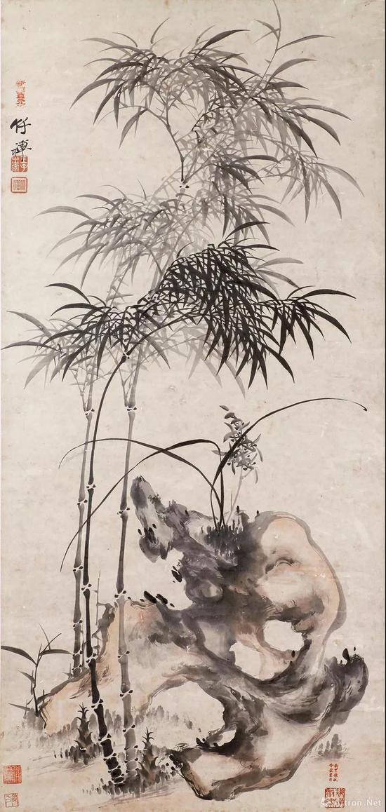 清代 竹禅《竹石兰草图》立轴 纸本设色 135×64厘米 宝光寺藏