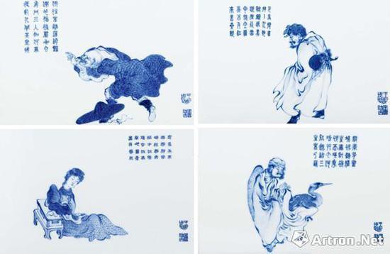王步《青花人物故事瓷板》 2932.5万元成交 王步最高价纪录