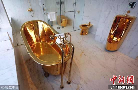 越南一酒店总统套房卫生间内金光闪闪