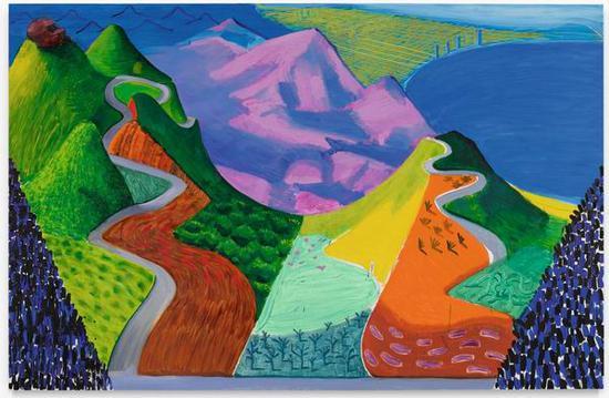 大卫·霍克尼,《太平洋海岸公路和圣塔莫妮卡》,1990