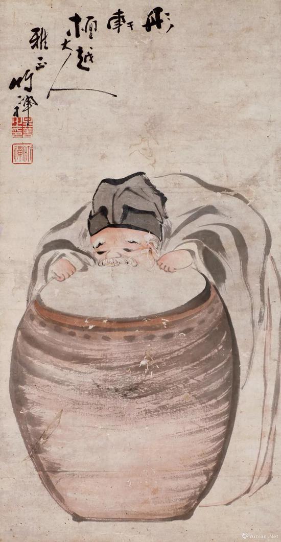 清代 竹禅《醉翁》立轴 纸本设色 71×37厘米 宝光寺藏