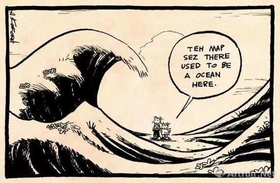 """漫画上的两只猫说:""""地图上说,这里曾经是一篇汪洋大海。"""""""