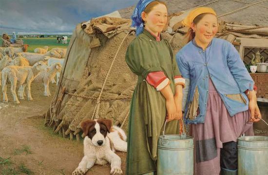 母女  布面油画 107X163cm 2004年