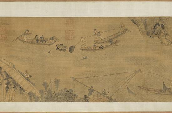 明 周臣《渔村图》局部台北故宫博物院藏
