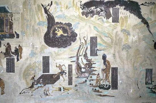 莫高窟第323窟 佛教史迹画 洗衣池和晒衣石 初唐