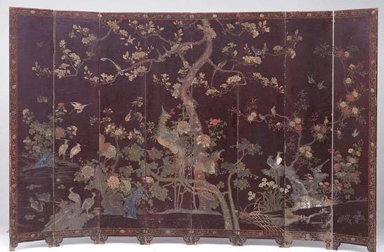 黑漆款彩百鸟朝凤图围屏 清 故宫博物院藏