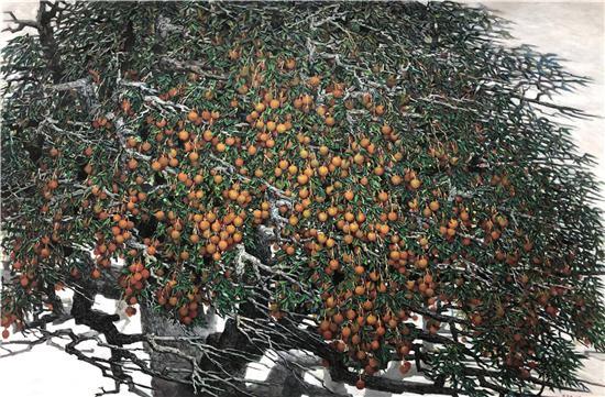 《荔枝树》油画