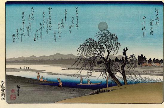 歌川?重,江户近郊八景 ?川秋月 24.9×36.9 cm 1837