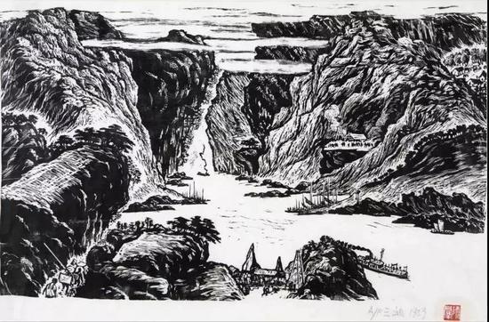 《三峡》35cm×58cm 师群 1959年 湖北美术馆藏