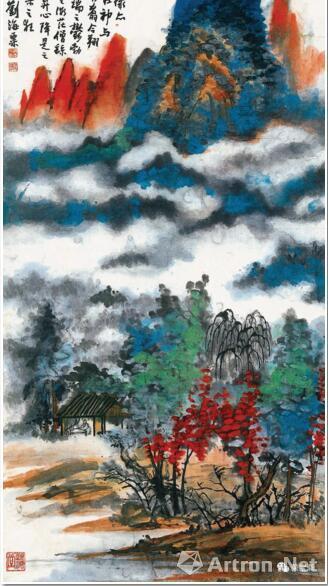 刘海粟 青绿山水 65.5cm×133.5cm 1975 常州刘海粟美术馆藏