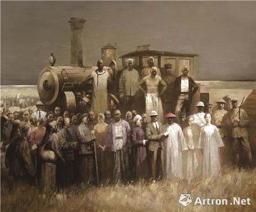 《百年记忆:1900·阳光穿过云层》 油画 180cm×150cm 2013年