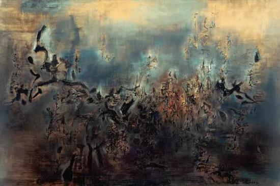 赵无极《黎明—不早不晚》1957年作 200 x 300 cm。 日本 京都 国立近代美术馆藏