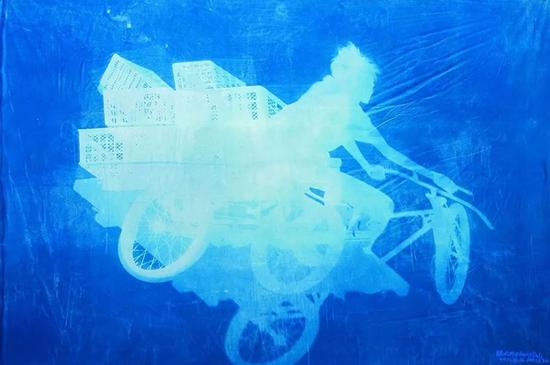 张大力《车夫》Delivery Bicycles纯棉布蓝晒Cyanotype Photogram Mounted on Fine Linen 260×390cm 2011
