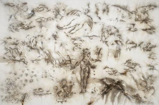 《鸟与鸟的手稿》, 2018 火药、画布