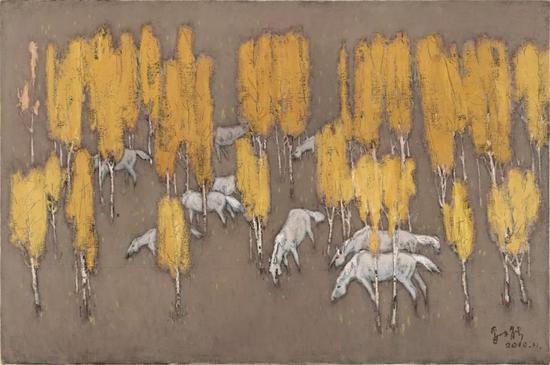妥木斯《金秋时节》布面油画150×100cm 2010年