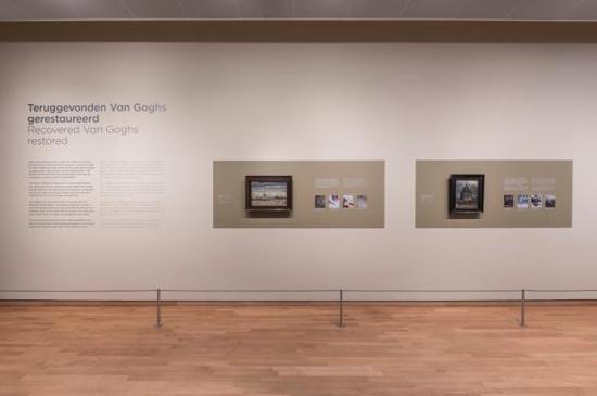 重新挂在阿姆斯特丹凡高博物馆展厅中的两幅画作,图片来源:CNN