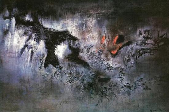 赵无极《风》1957年作 130 x 195 cm。 美国 纽约 所罗门 · 古根海姆美术馆藏