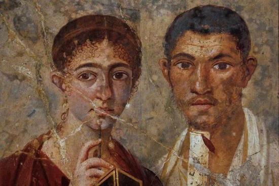 佚名《特兰迪尤斯・内奥和他的妻子》公元前20-30世纪 壁画 @那不勒斯国家考古博物馆