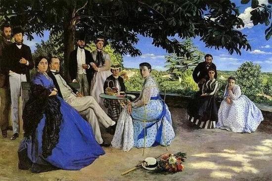 巴齐耶《家庭聚会》,布面油画,1867年