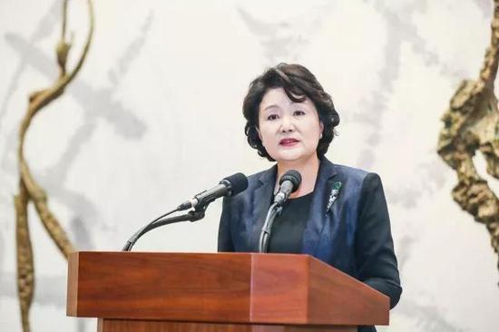 ▲韩国总统夫人金正淑致辞