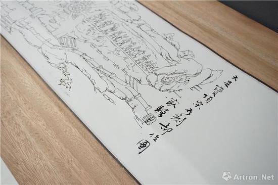"""杨家骆手绘""""大足石刻""""长卷 现藏台湾清华大学图书馆"""