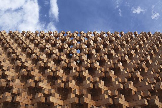 """2015年米兰世博会日本馆""""无限的木造"""" 摄影:ohno shigeru"""