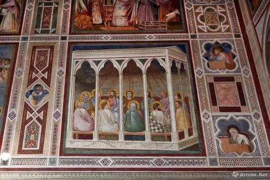 ▲意大利帕多瓦Scrovegni教堂的内部的乔托壁画