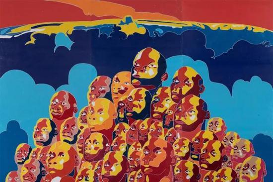 方力钧,2016,244×366cm,木刻版画,2016