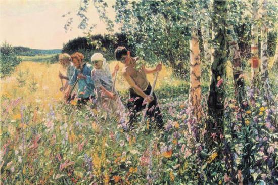 Arkady Plastov,《锄麦草》,1945