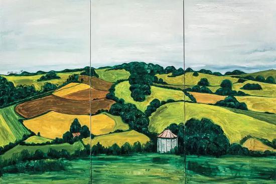 丁伟 绿— 三联 油画