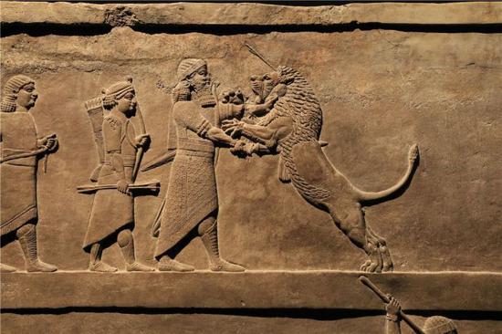 国王猎狮浮雕