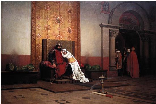 让·保罗·劳伦斯虔诚的罗伯特二世被逐出教会130×218cm 1875年 奥赛美术馆