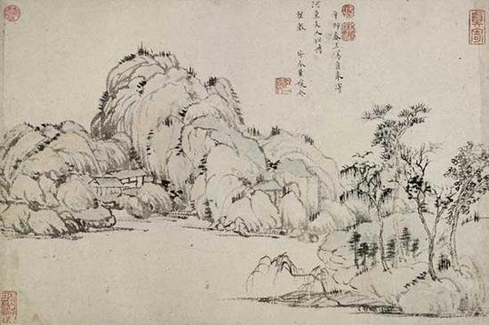 图1 黄媛介 山水图 卷 纸本设色 纵25.1厘米 横37.2厘米 1651年 故宫博物院