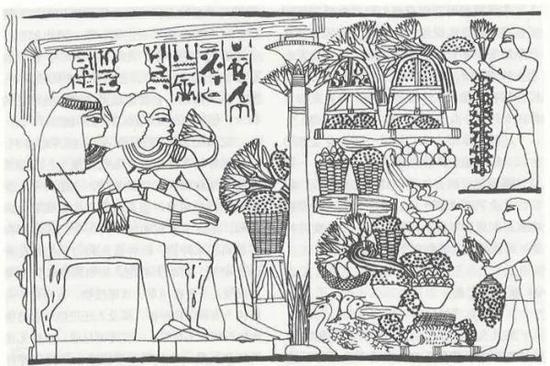 古埃及壁画 约公元前1400年 主人和他妻子坐在椅子上, 接受两位仆人送来的飞禽和水果。