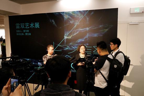 艺术家雷双女士接受记者采访
