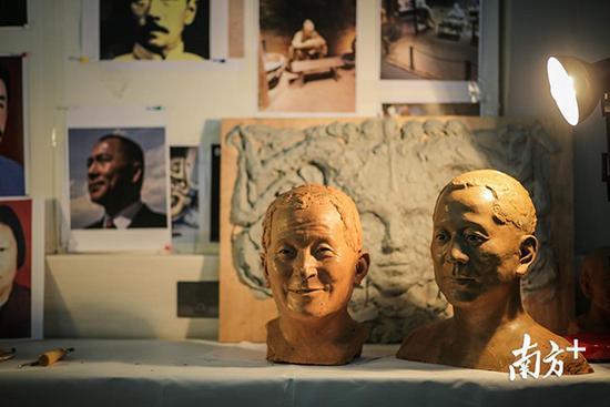 张磊雕塑工作室一角。