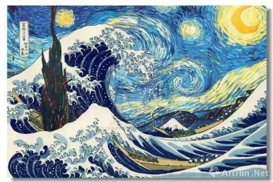 和梵高星空的混搭,毫无违和感。涡旋状笔触的星空与滚滚巨浪融为一体