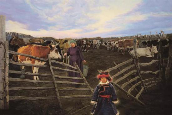 草原牧歌 布面油画 130X194cm 2011年