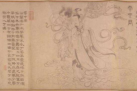 元张渥《临李公麟九歌图》(局部)