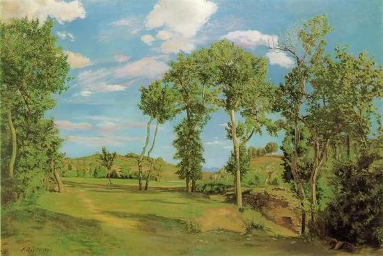 巴齐耶《靠近海滨的风景》,布面油画,1870年