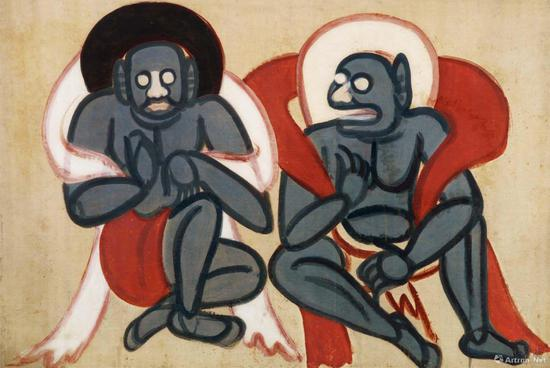 张大千 摹北周敦煌壁画夜叉 112.6cm×76.1cm 绢本设色 四川博物院藏