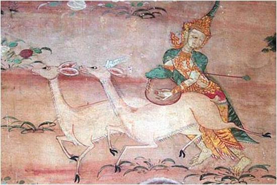 泰国寺院壁画中的睒子本生故事图