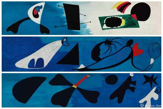 胡安·米罗《壁画 I-II-III》油彩 画布 每件:55.2 x 249.8 cm。 1933年12月作