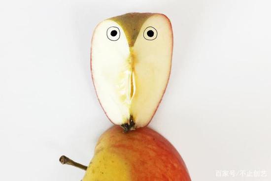 有一天我切開一個蘋果,然后,一只貓頭鷹就這么誕生了,好神奇。