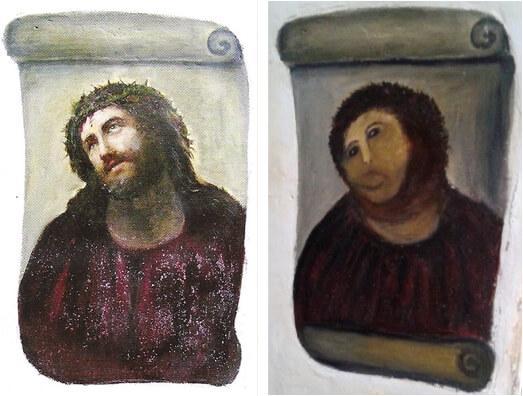 修复前以及修复后的基督壁画《Ecce Homo》。图/取自《卫报》。