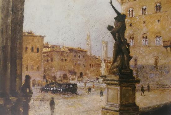 颜文樑《佛罗伦萨广场》1930 油画